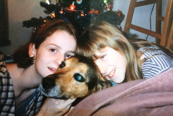 Shona McLean and her sister Sarah with Kim, their childhood pet.