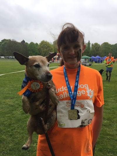 Daisy and I after the Battersea Dogs Home Muddy Dog Challenge.