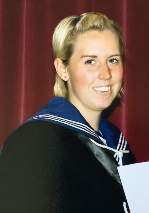 Woof Woof Network founder Katie Tovey-Grindlay during her time in the Royal Navy.