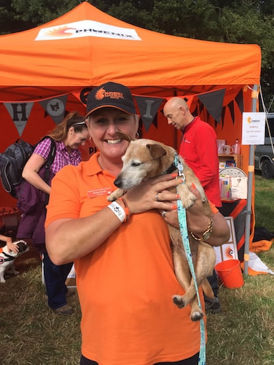 Daisy meets Teresa Cargill from Phoenix French Bulldog Rescue at North East Dog Festival.