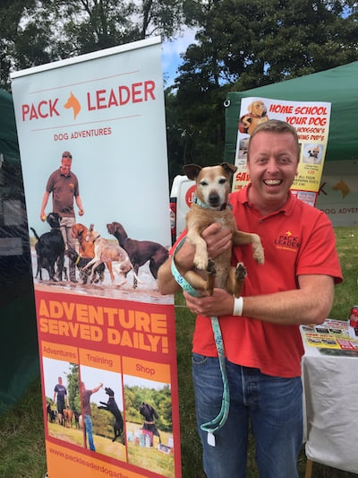 Daisy meets Dominic Hodgson, author of How to be your dog's Superhero at North East Dog Festival