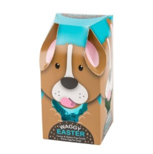 This Easter egg for dogs is made of carob which is pet friendly.