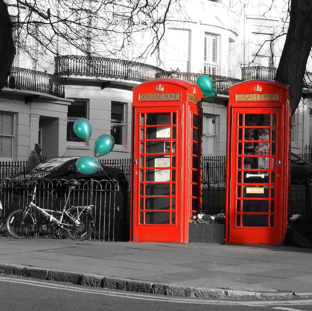 Sam's Dog and Bone Gallery is set in two traditional phone boxes