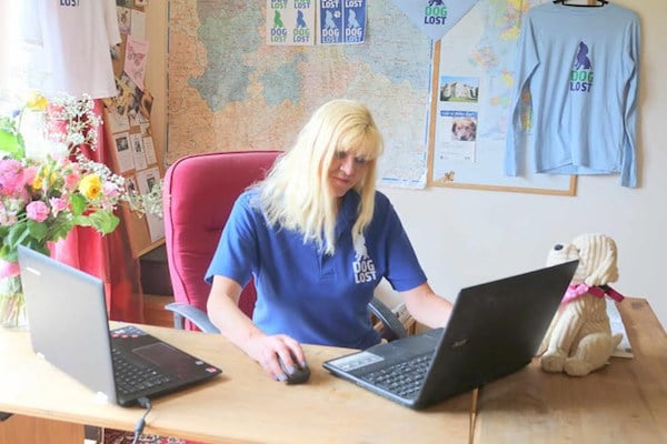 Jayne Hayes founder of DogLost at work helping reunite owners with their pets.