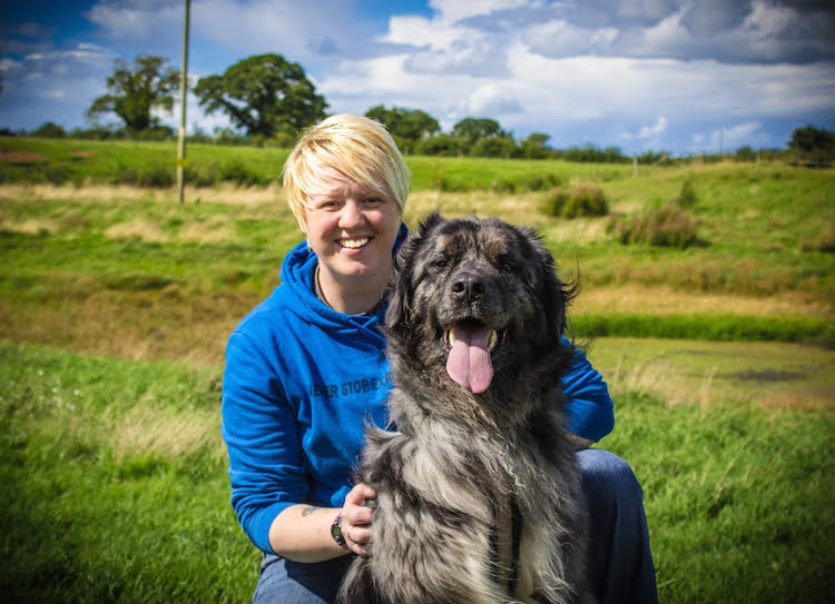 Marie Yates of Canine Hope and her rescue dog Bear talking about working with rape survivors.