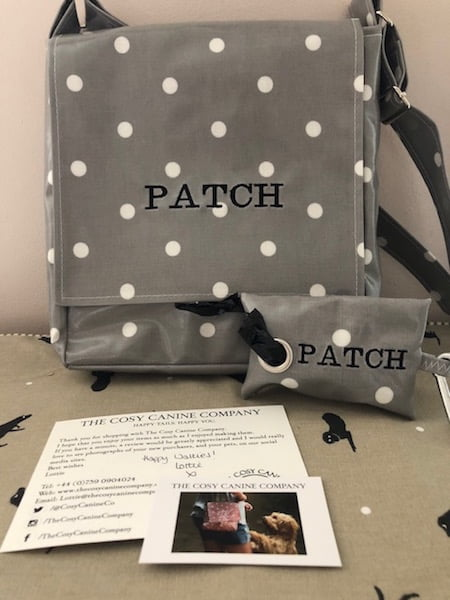 Patch's personalised bag and poop bag holder from the Cosy Canine Company
