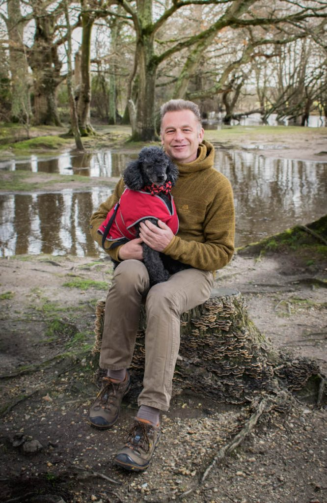 Chris and Scratchy wrapped up on a walk © Dogstival/Harry White Photography