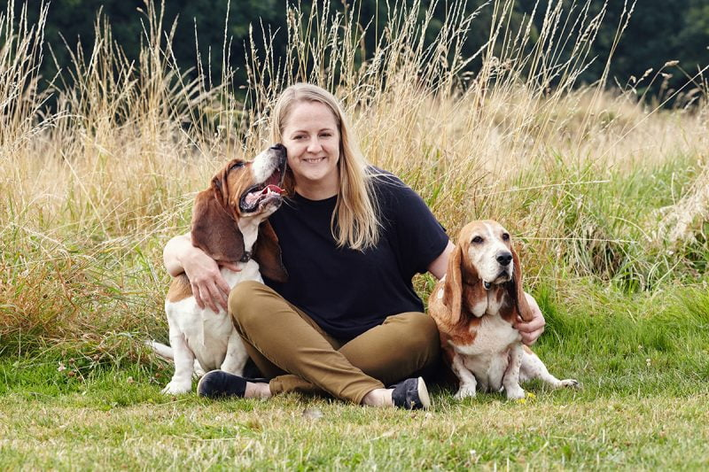 Caroline Wilkinson and her dogs Chester and Ezri